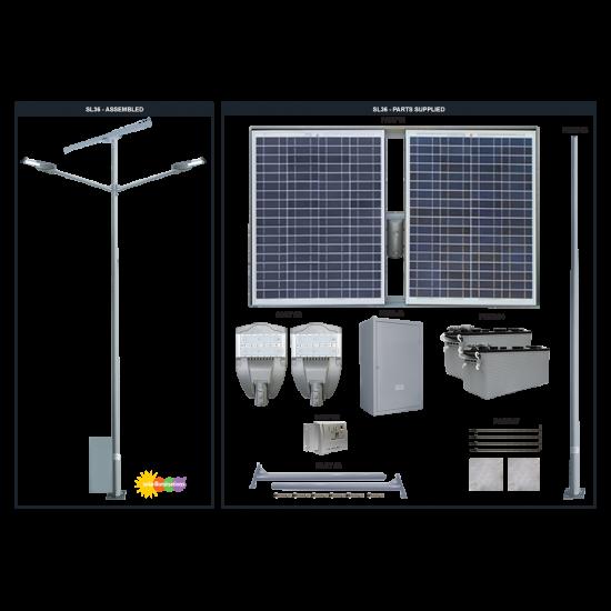 SL36 Double Solar Parking Lot Light (With Pole) 35W/65W