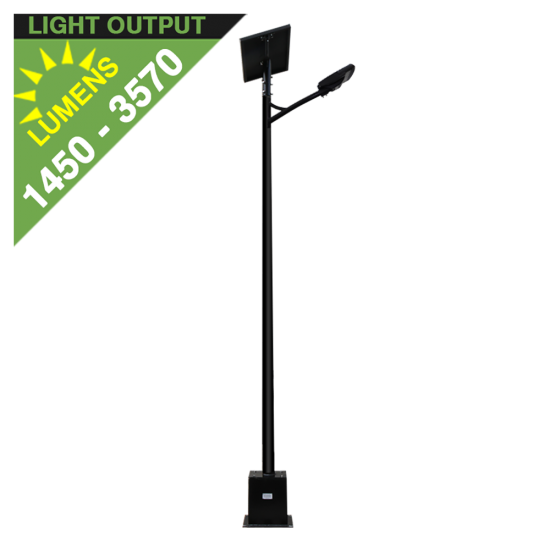 SL45 Solar 10W/15W/20W/25W/30W LED Street/Parking Lot Light (With Pole)