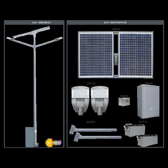 SL37 Solar Double 35W/65W LED Parking Lot Light (Without Pole)