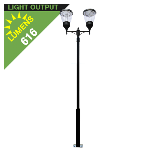 PO11 Solar Balmoral Double Lamp Post Light (With Heavy Duty 10' Pole)