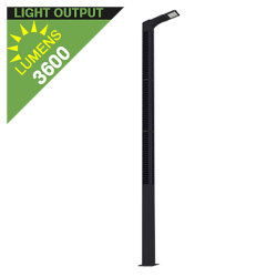 SL21 Solar 36W LED Street/Parking Lot Light (With Pole)