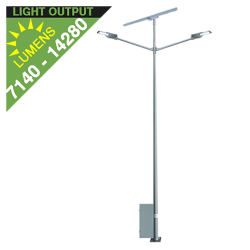 SL36 Double Solar Street Light (With Pole) 35W/65W