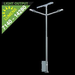 SL36 Solar Double 35W/65W LED Street/Parking Lot Light (With Pole)