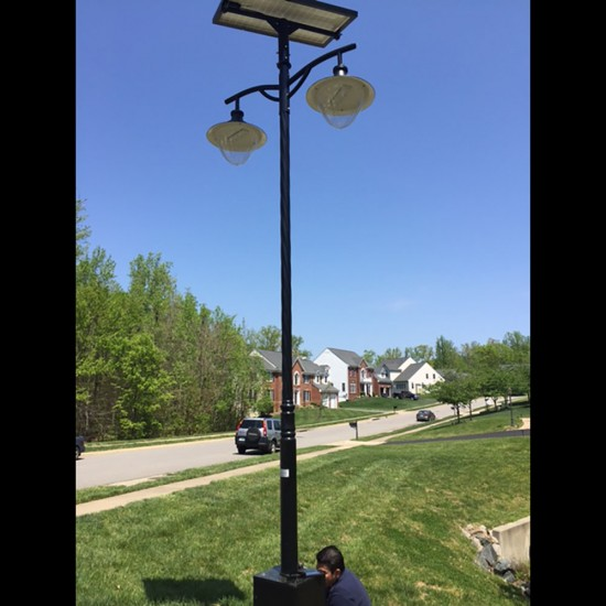 SL22 Solar Double 10W/12W/15W LED Street/Parking Lot Light (With Pole)