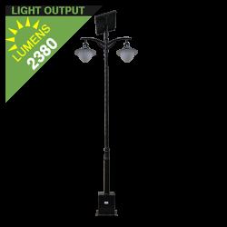 SL22 Solar Double 10W/12W/15W LED Street/Parking Lot Light (With Pole)