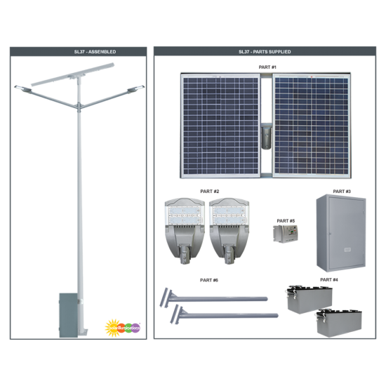 SL37 Solar Double 35W/65W LED Street/Parking Lot Light (Without Pole)